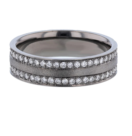 Men's 14K Black Gold Diamond Band - Nazarelle