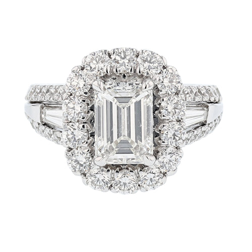 14K White Gold GIA Certified 2.01 Carat Emerald Cut Diamond Engagement Ring - Nazarelle