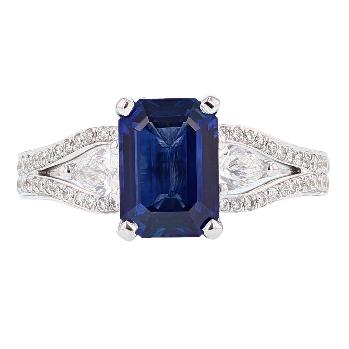 18K White Gold 2.20 Carat Emerald Cut Sapphire and Diamond Ring