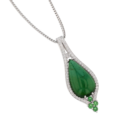 18K White Gold Cabochon Green Tourmaline and Diamond Pendant Necklace - Nazarelle