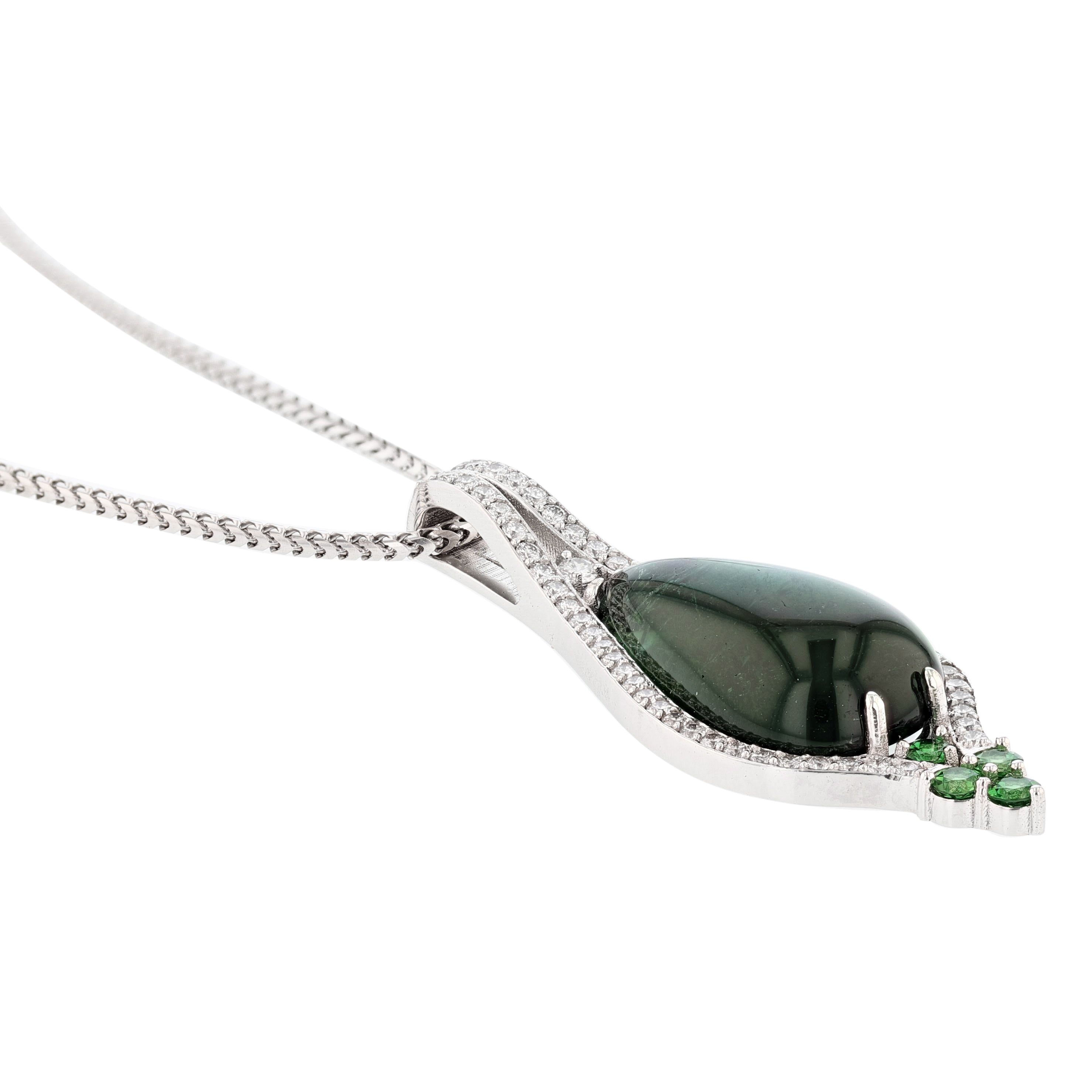 18K White Gold Cabochon Green Tourmaline and Diamond Pendant Necklace