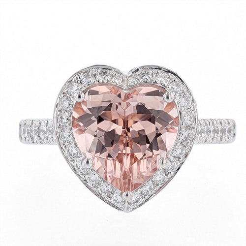 14K White and Rose Gold Morganite Heart Ring - Nazarelle