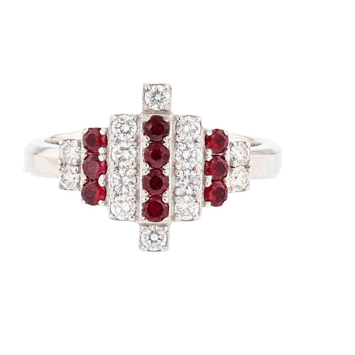 18K White Gold Ruby and Diamond Ring - Nazarelle