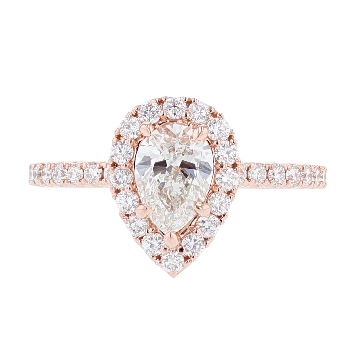 18K Rose Gold Pear Shape Diamond Engagement Ring - Nazarelle