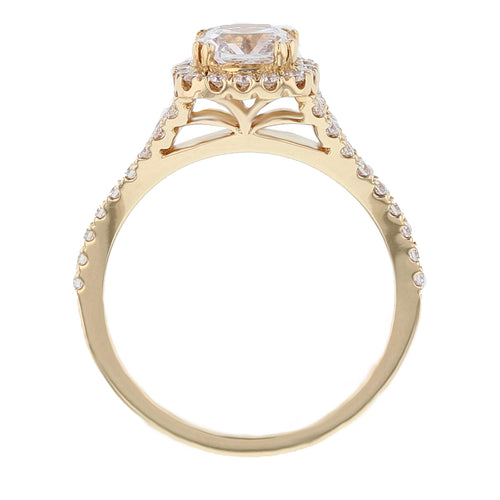 18K Yellow Gold Cushion Diamond Engagement Ring