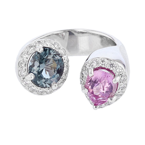 14K White Gold Pink and Blue Spinel and Diamond Ring