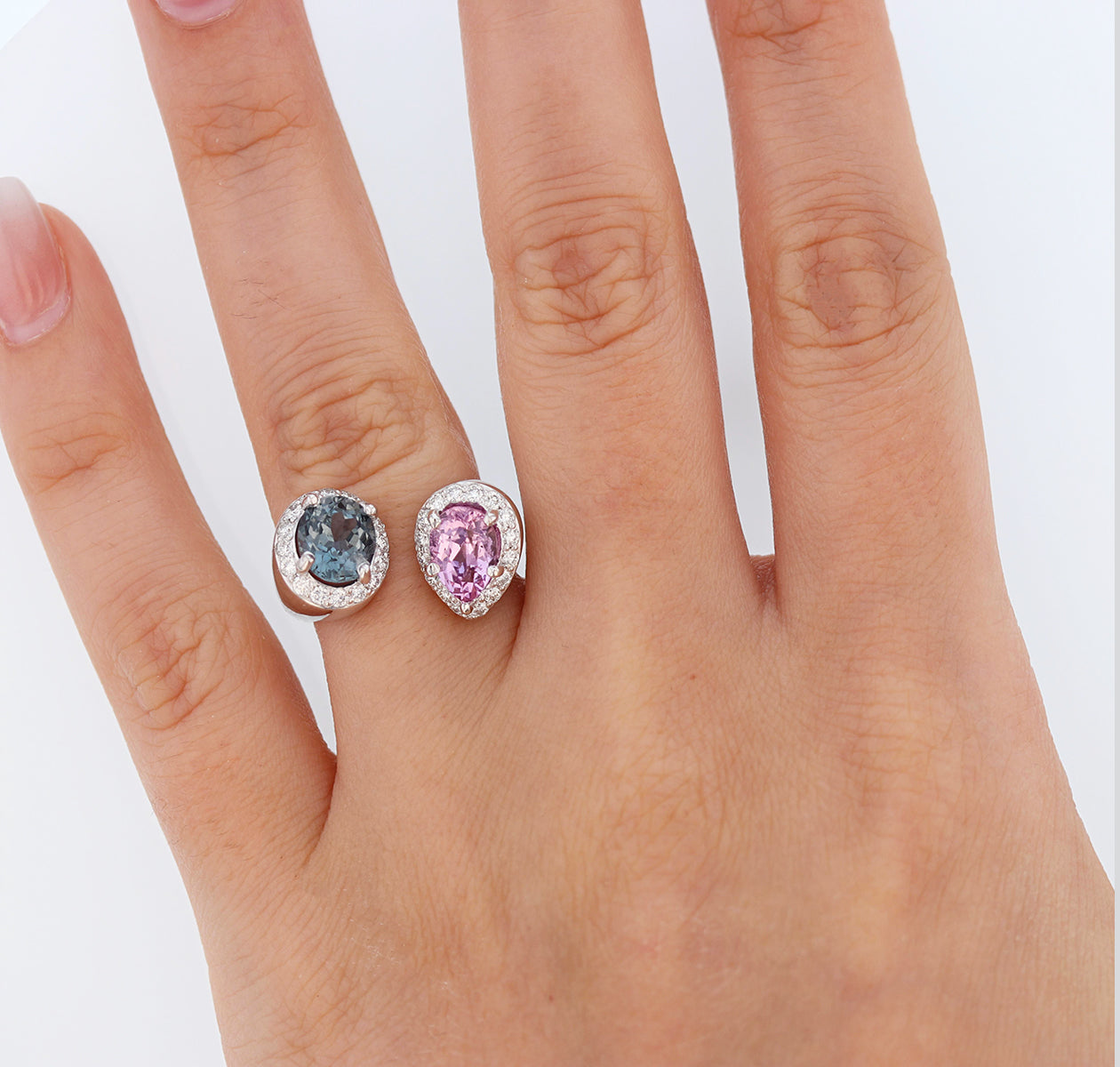 14K White Gold Pink and Blue Spinel and Diamond Ring - Nazarelle