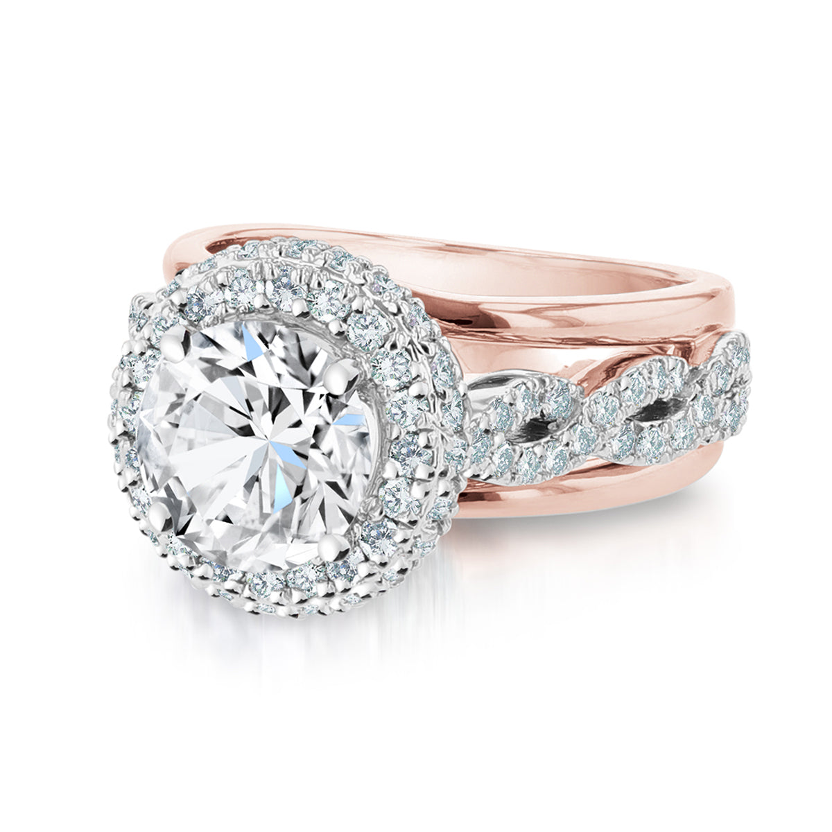 14K White and Rose Gold Round Diamond Engagement Ring - Nazarelle