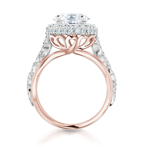 14K White and Rose Gold Round Diamond Engagement Ring