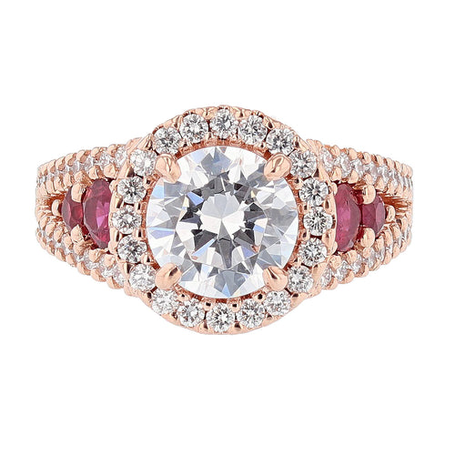 14K Rose Gold Round Diamond and Ruby Engagement Ring