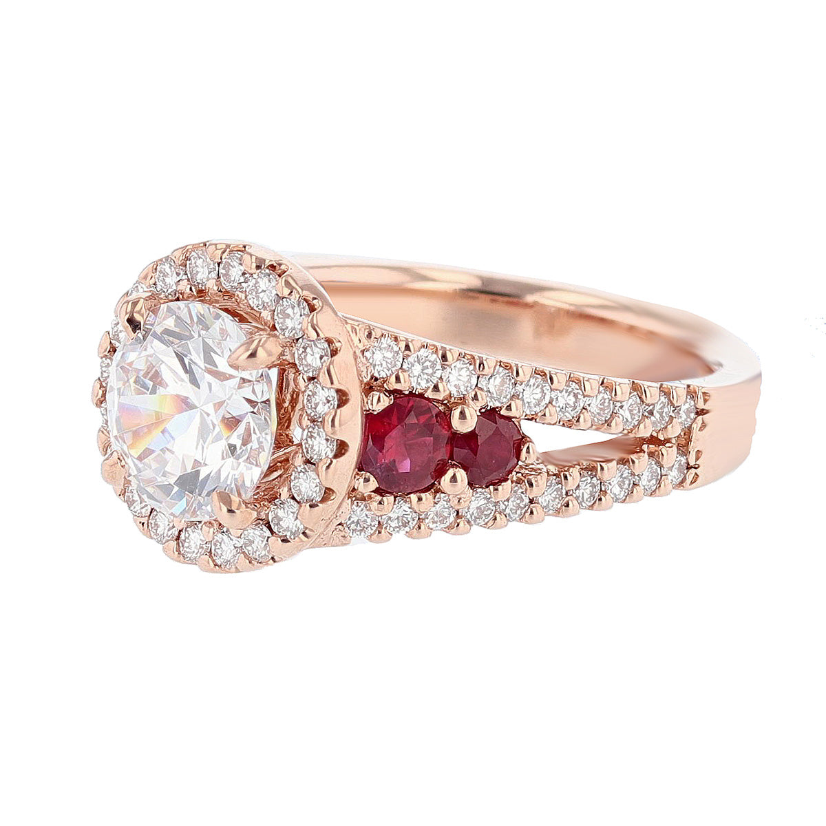 14K Rose Gold Round Diamond and Ruby Engagement Ring - Nazarelle