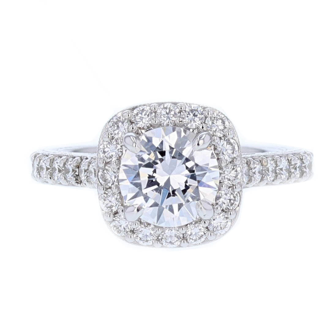 18K White Gold Round Diamond Engagement Ring - Nazarelle
