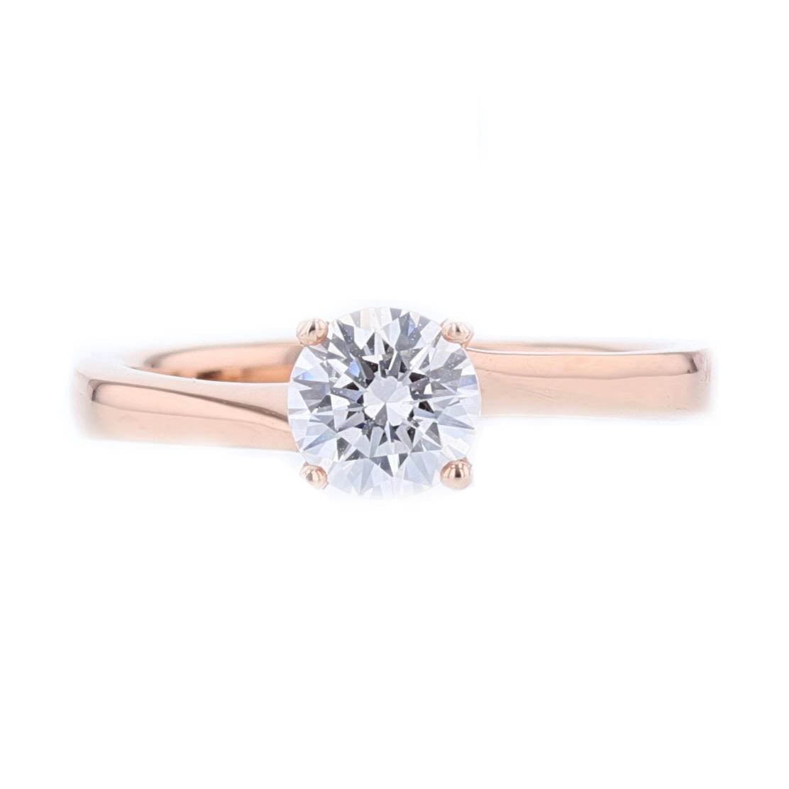 14K Rose Gold Round Solitaire Engagement Ring - Nazarelle