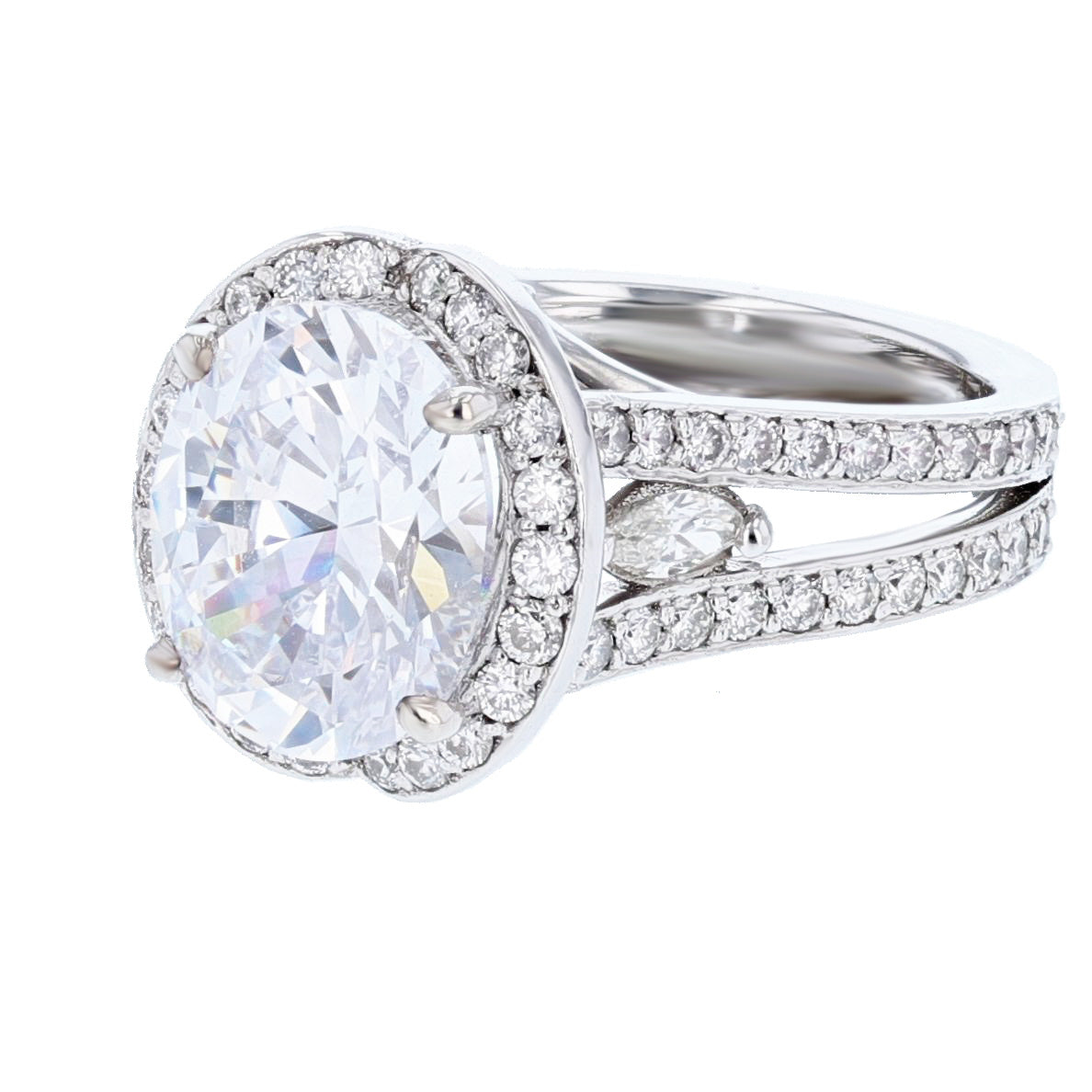14K White Gold Oval Diamond Engagement Ring - Nazarelle