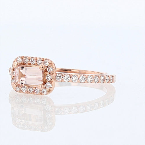 14K Rose Gold Emerald Cut Morganite and Diamond Ring - Nazarelle