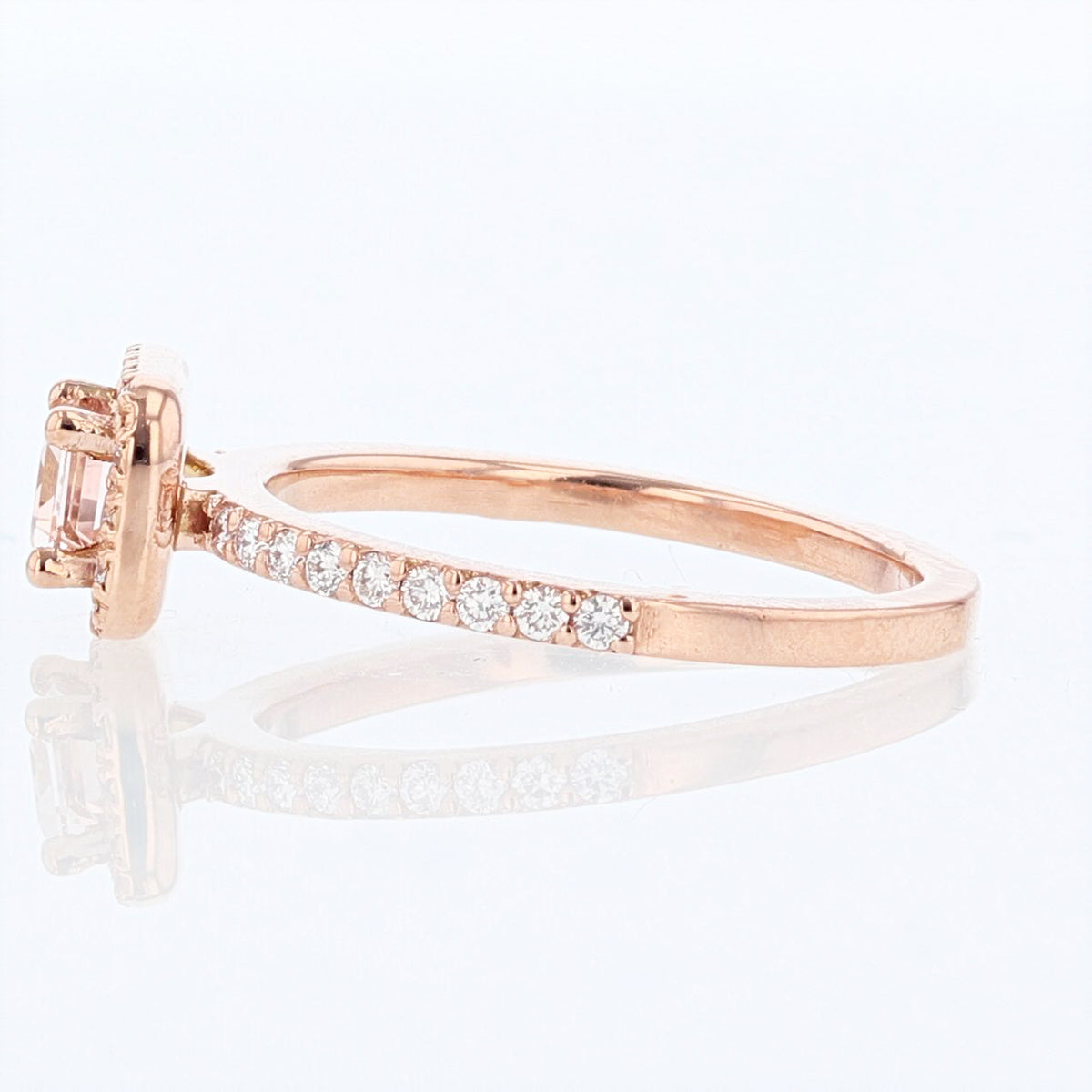 14K Rose Gold Emerald Morganite and Diamond Ring