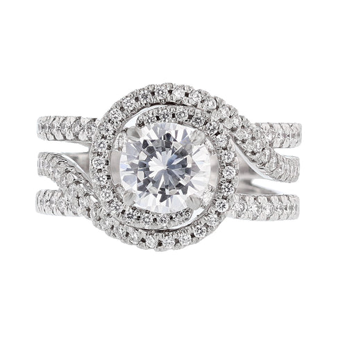 14K White Gold Round Brilliant Diamond Engagement Ring