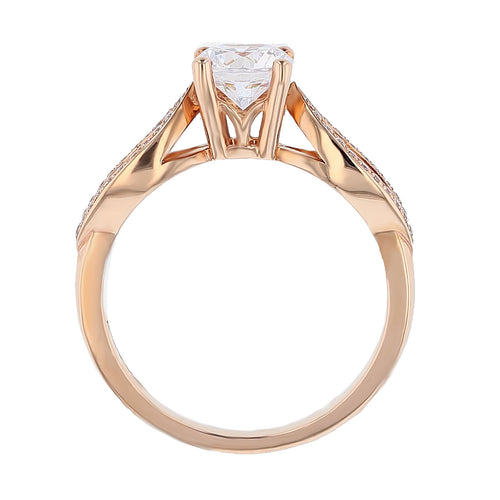 14K Rose Gold Round Brilliant Diamond Engagement Ring - Nazarelle
