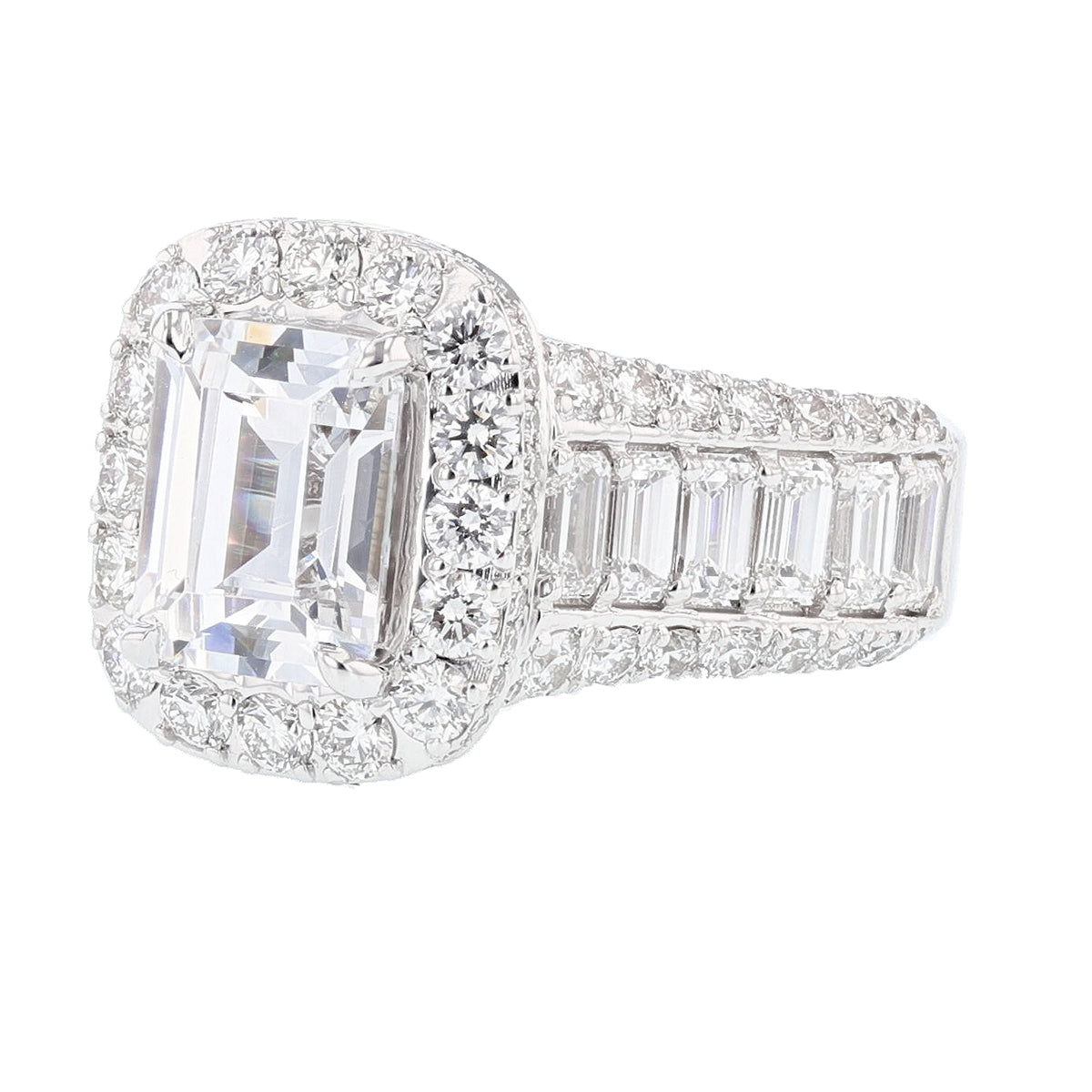 18K White Gold Emerald Cut Diamond Engagement Ring - Nazarelle