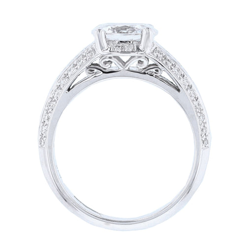 18K White Gold Oval Diamond Engagement Ring - Nazarelle