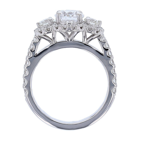 18K White Gold Three Stone with Halo Round Diamond Engagement Ring