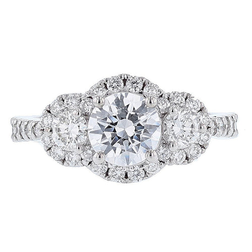 18K White Gold Three Stone with Halo Round Diamond Engagement Ring - Nazarelle