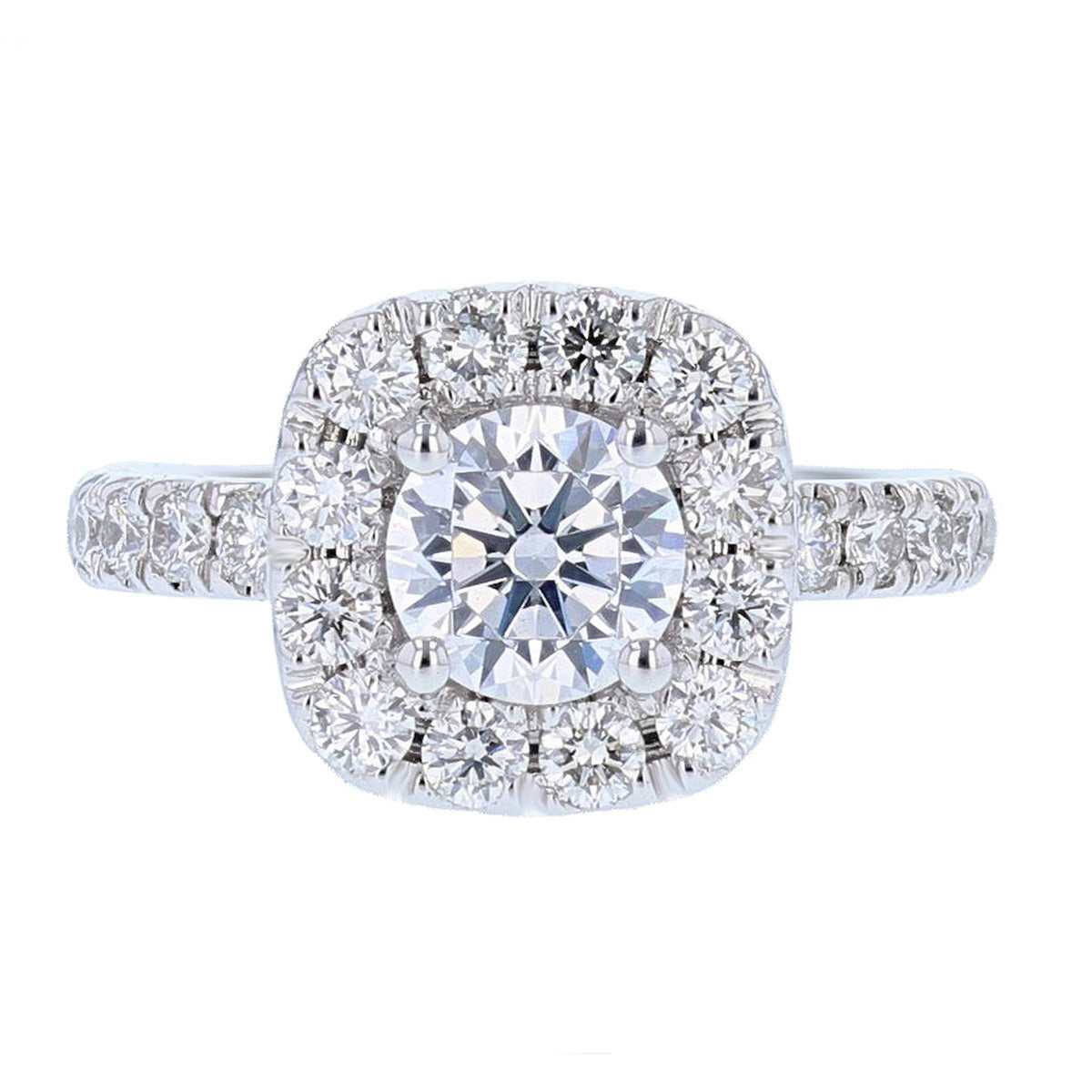 18K White Gold Cushion Halo Round Diamond Engagement Ring - Nazarelle