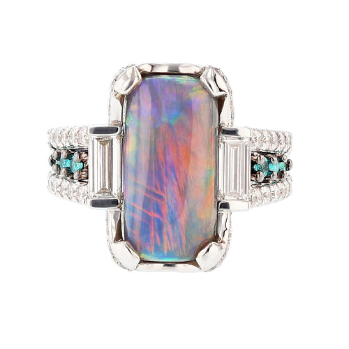 Natural Black Opal, Diamond, and Paraiba Tourmaline Ring