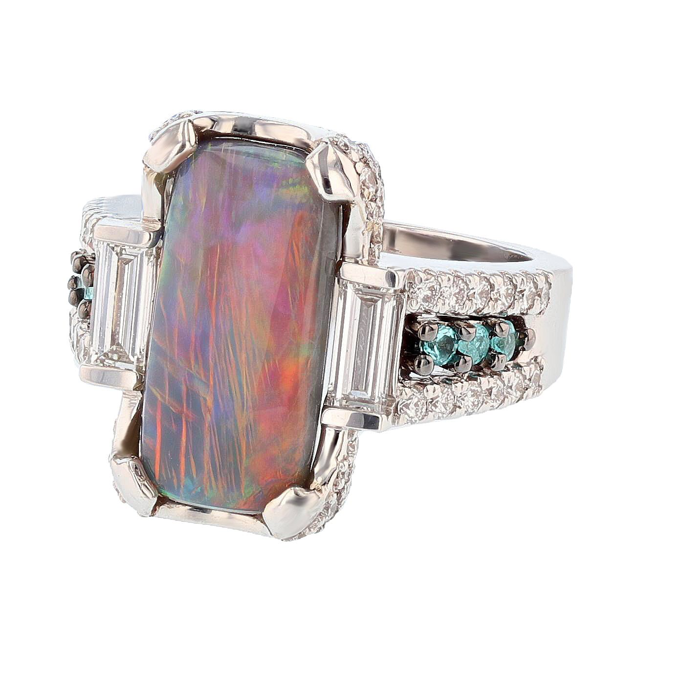 Natural Black Opal, Diamond, and Paraiba Tourmaline Ring - Nazarelle