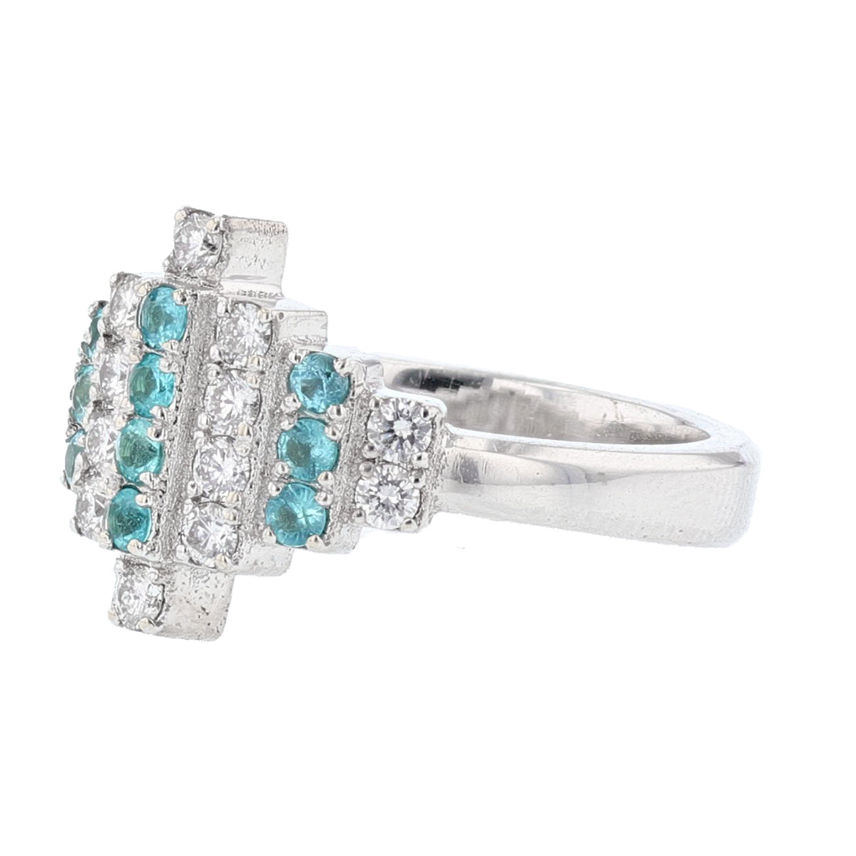 18K White Gold Paraiba Tourmaline and Diamond Ring - Nazarelle