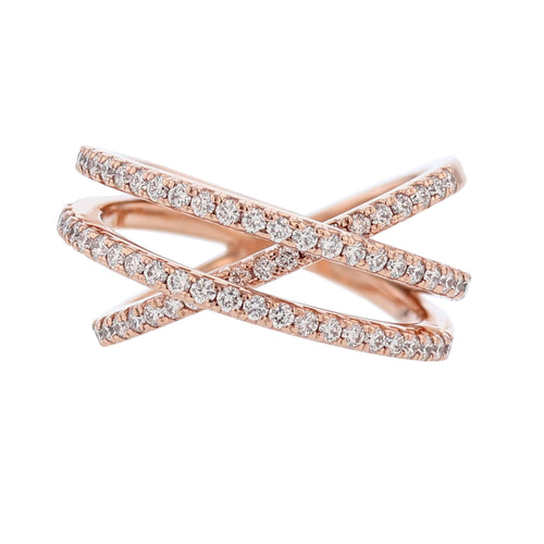 14K Rose Gold Diamond Criss Cross Ring