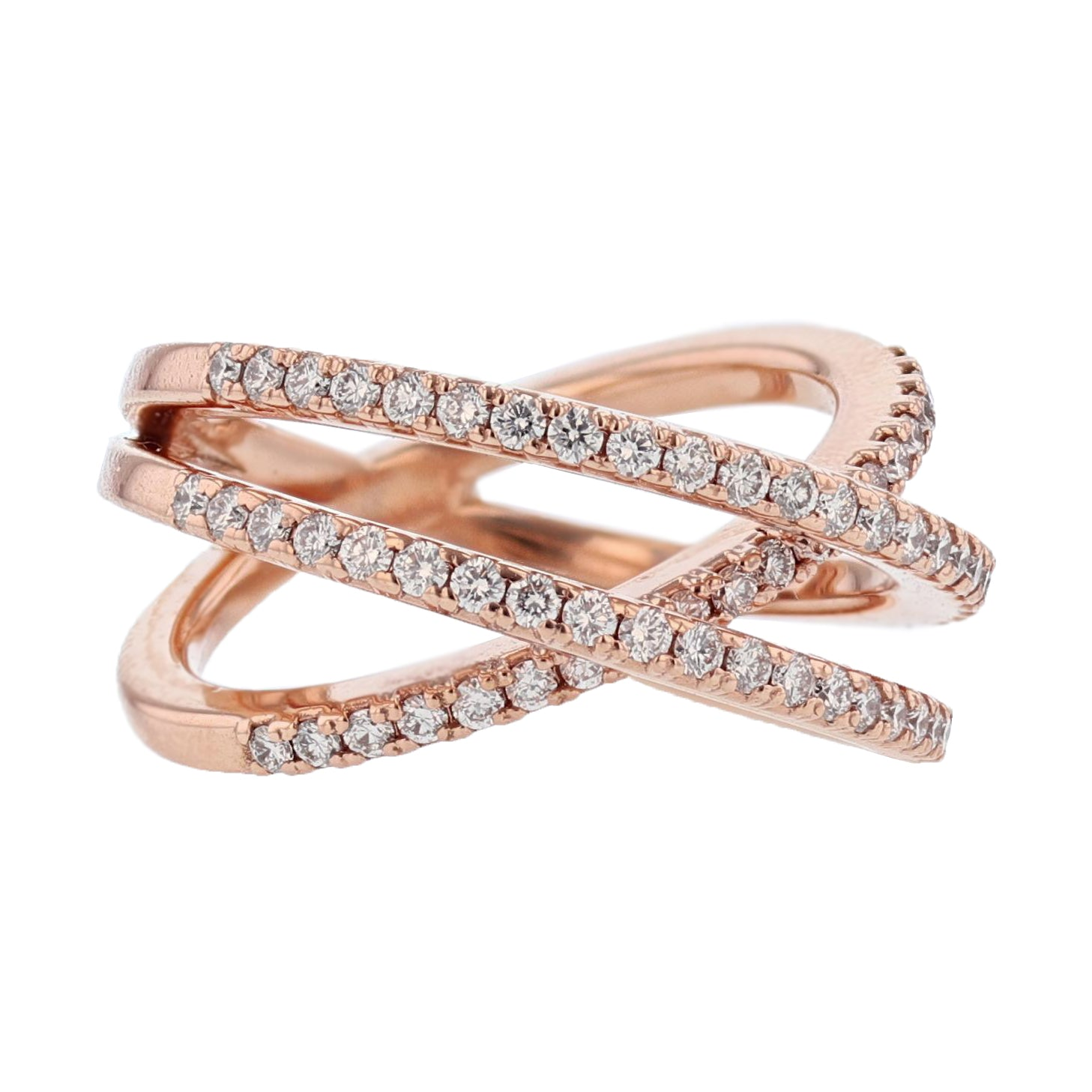 14K Rose Gold Diamond Criss Cross Ring - Nazarelle