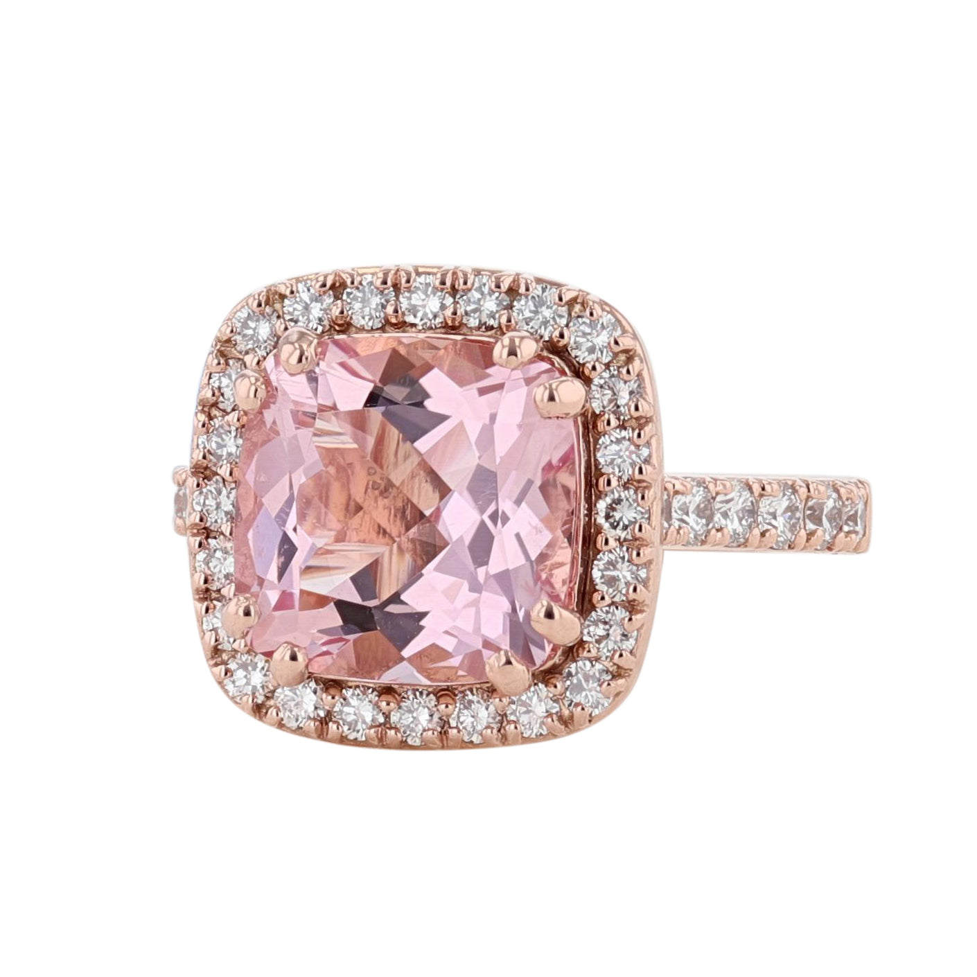 14K Rose Gold Cushion Morganite and Diamond Ring - Nazarelle