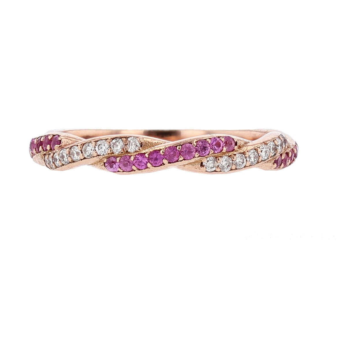 14K Rose Gold Pink Sapphire and Diamond Twist Band - Nazarelle