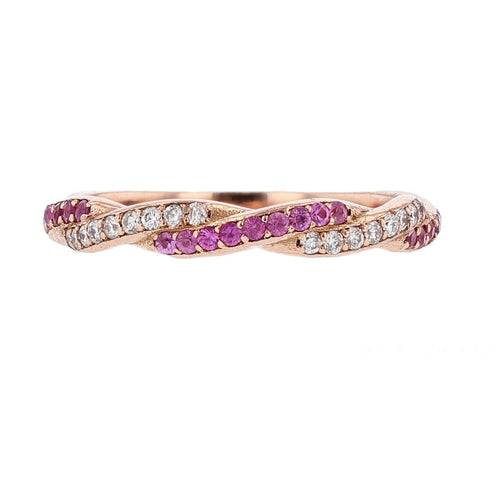14K Rose Gold Pink Sapphire and Diamond Twist Band