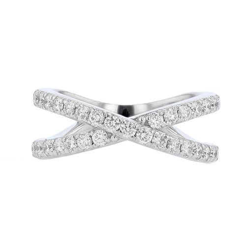 18K White Gold Diamond Criss Cross Ring - Nazarelle