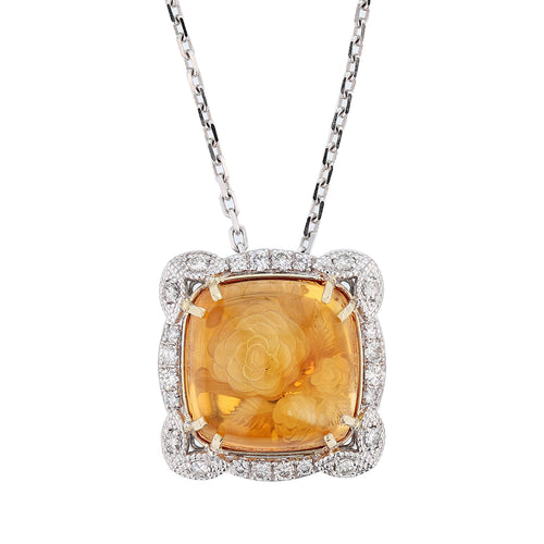 14K White Gold Cabochon Citrine and Diamond Pendant Necklace