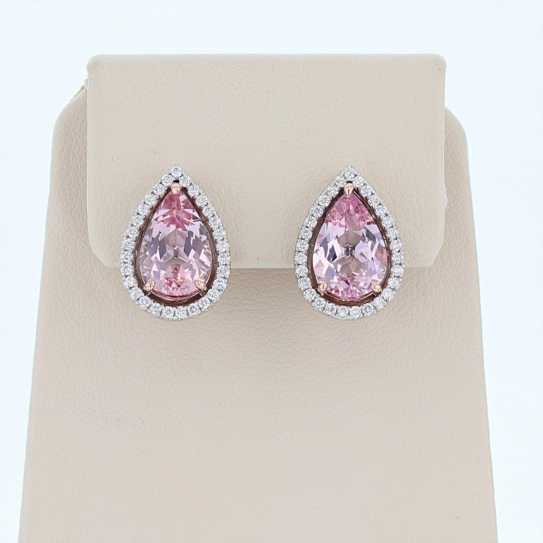 14K White and Rose Gold Pear Shape Morganite Stud Earrings - Nazarelle