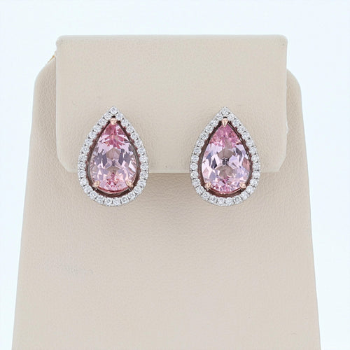 14K White and Rose Gold Pear Shape Morganite Stud Earrings