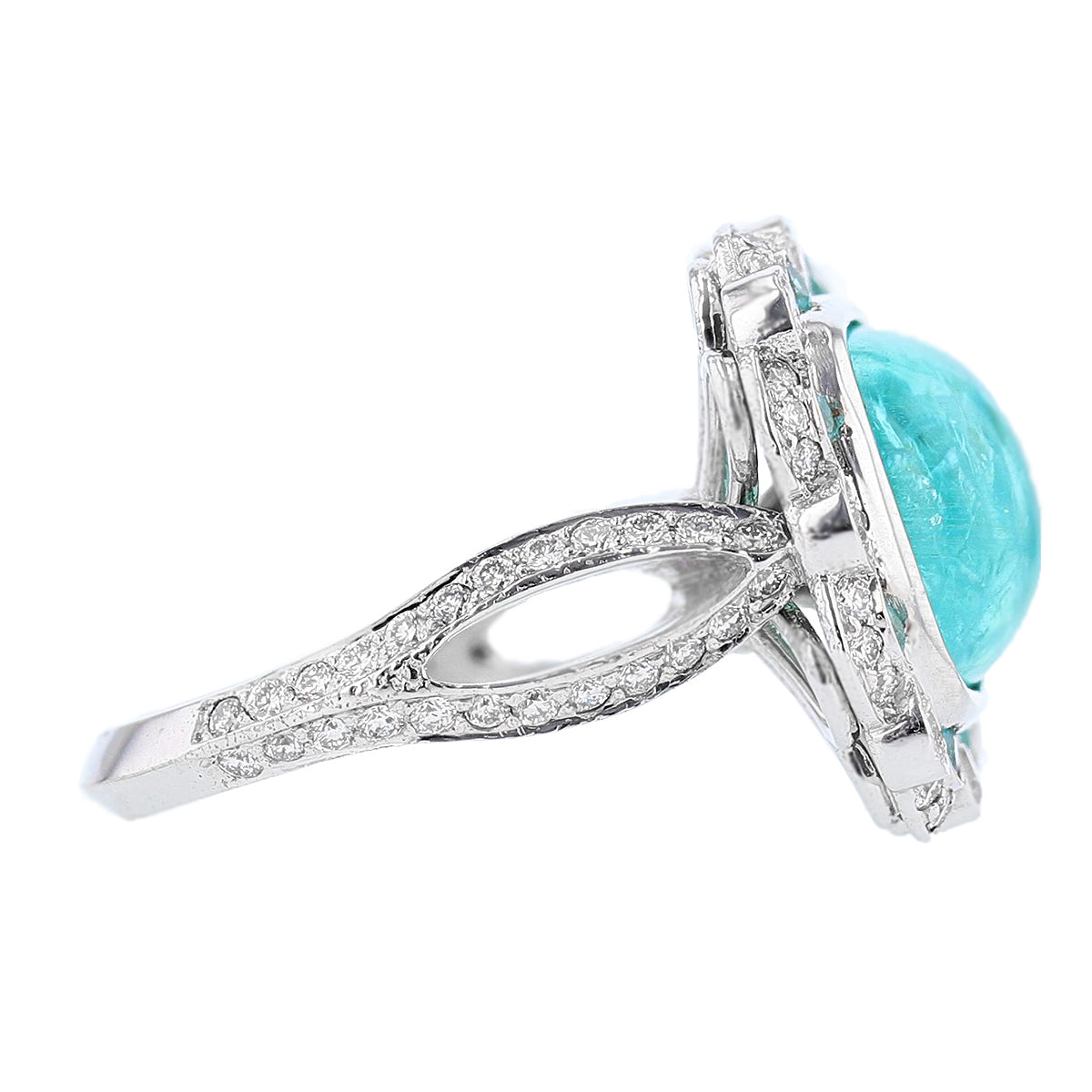 18K White Gold 6.62 Carat Cabachon Paraiba Tourmaline and Diamond Ring