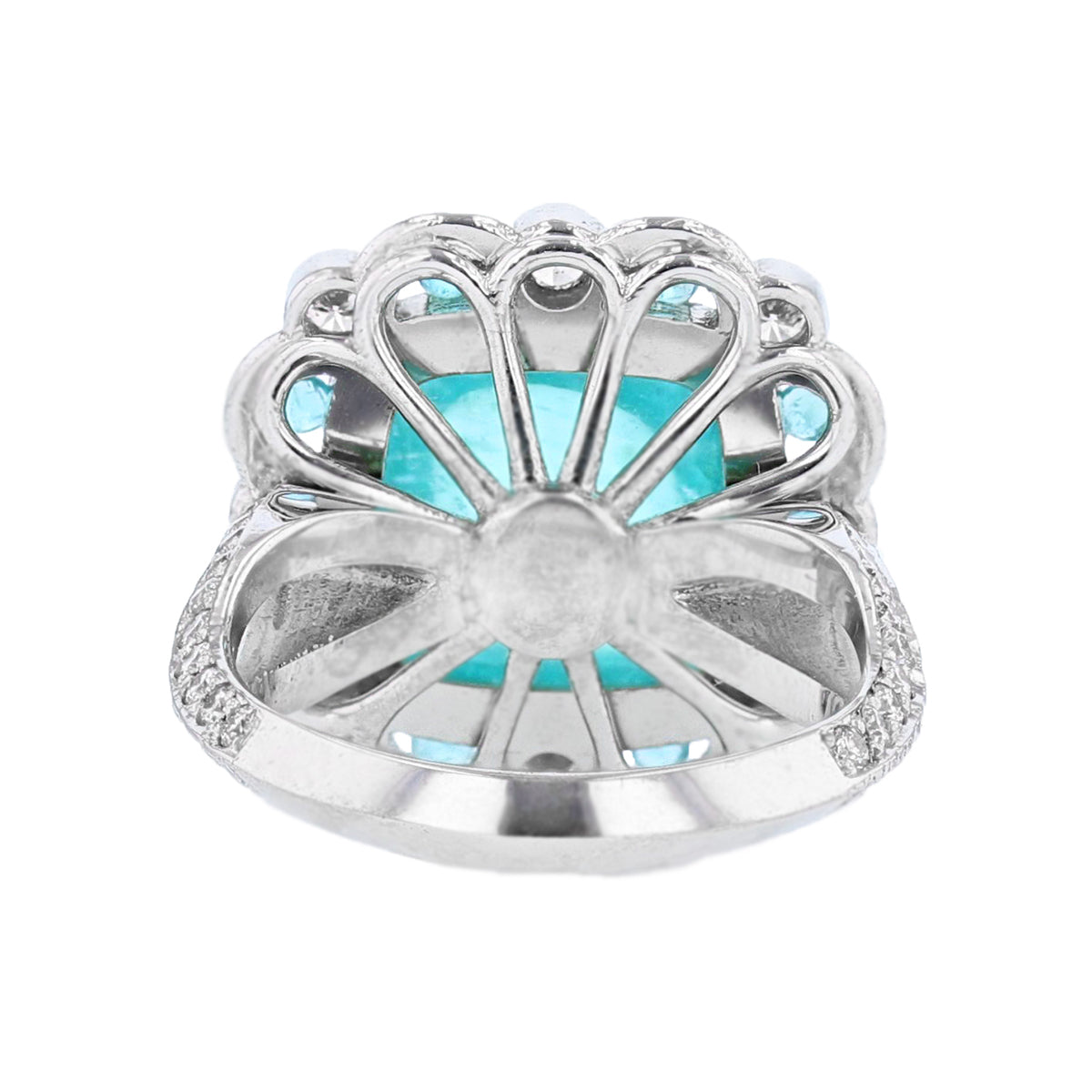 18K White Gold 6.62 Carat Cabachon Paraiba Tourmaline and Diamond Ring - Nazarelle