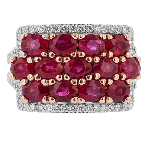 14K White and Rose Gold Ruby and Diamond Ring