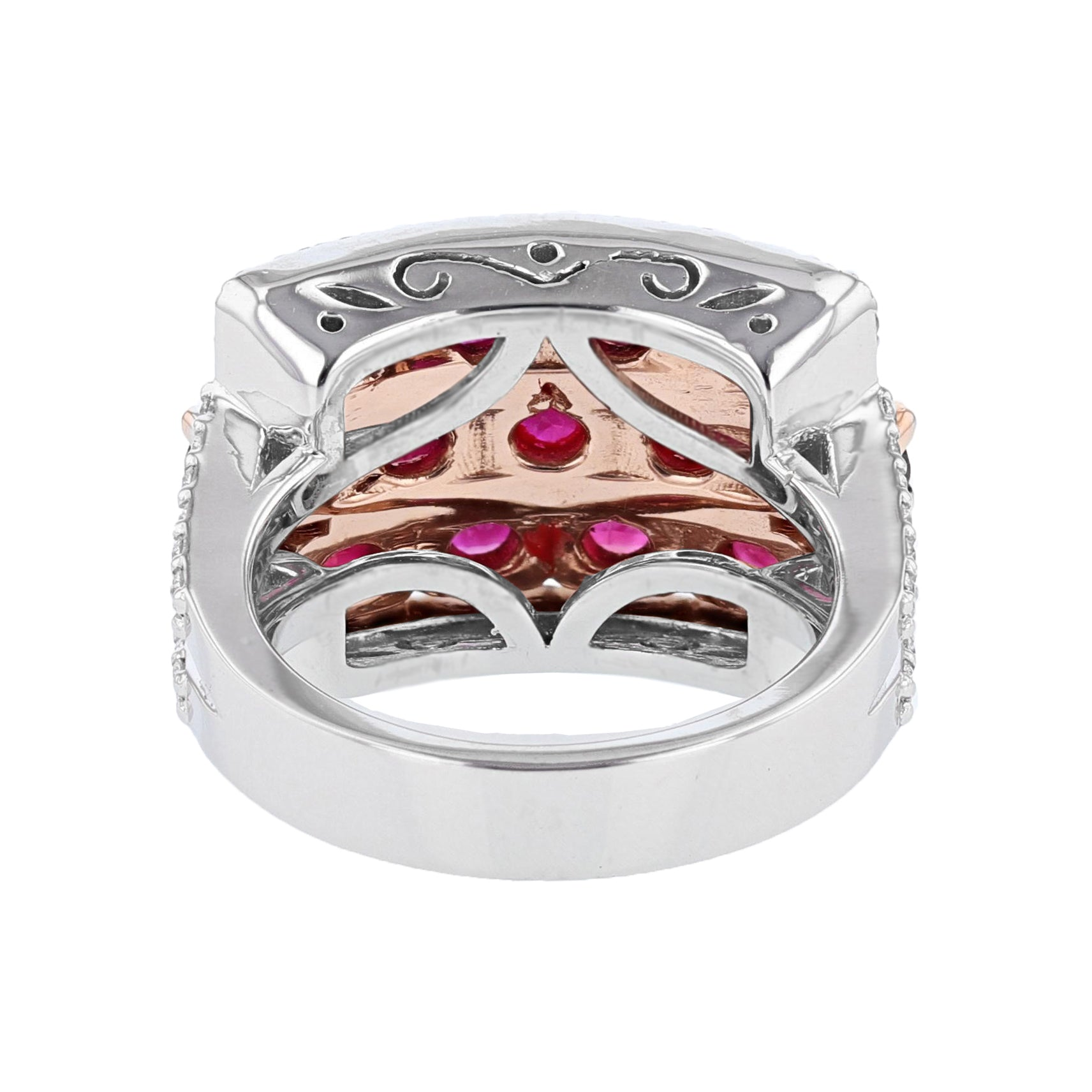 14K White and Rose Gold Ruby and Diamond Ring - Nazarelle