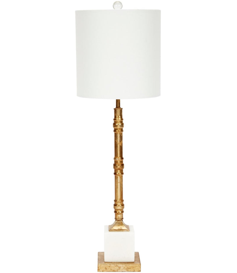 CARSON AGED GOLD METAL LAMP WITH WHITE MARBLE BASE & WHITE LINEN SHADE