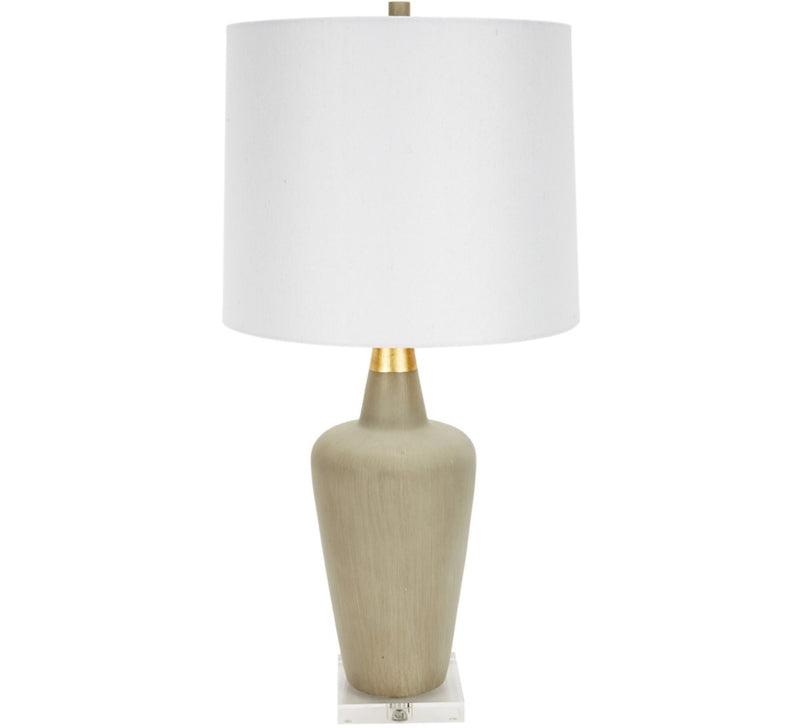 KARA CEMENT LAMP WITH GOLD ACCENT & WHITE LINEN SHADE