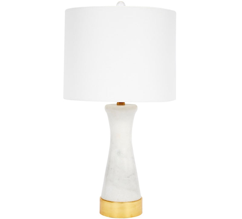 WHITE MARBLE FAY LAMP WITH GOLD METAL BASE & WHITE LINEN SHADE