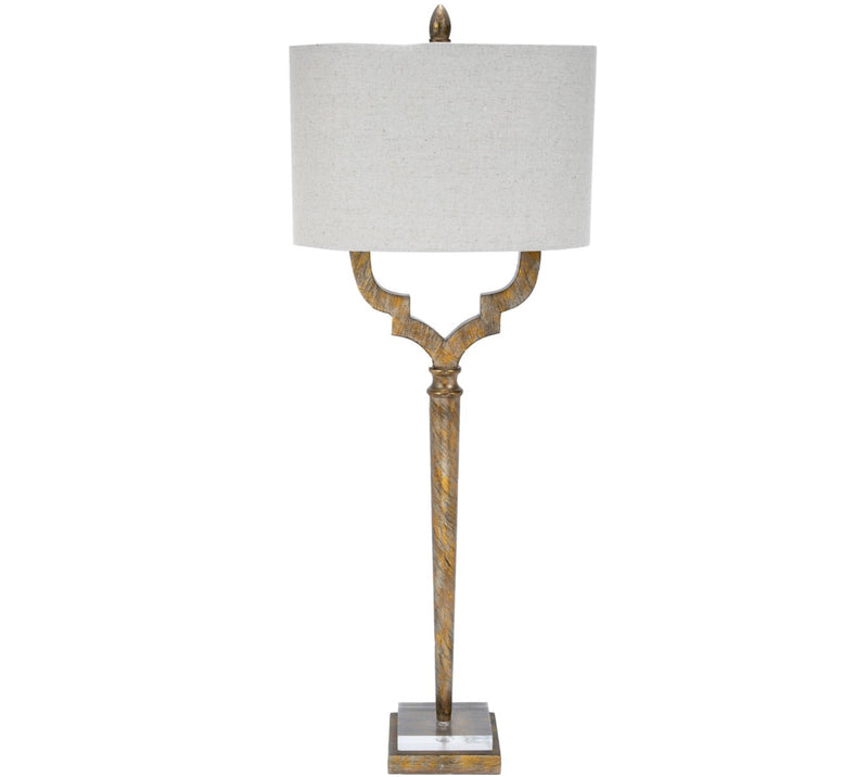 CHAMPAGNE GOLD QUATREFOIL BUFFET LAMP WITH OVAL LINEN SHADE
