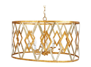 JACKSON GOLD & SILVER LEAF CUTOUT OVAL CHANDELIER