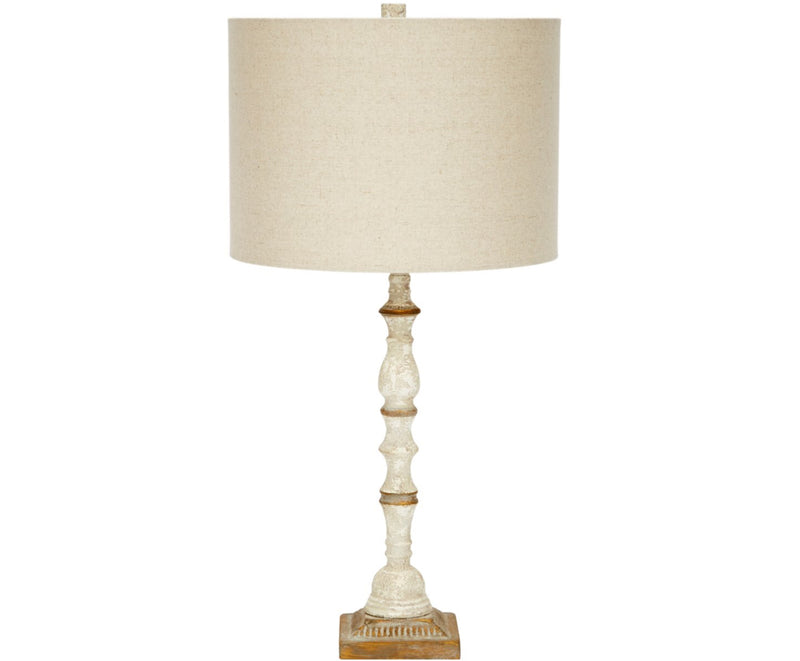 FRENCH WHITE & AGED GOLD LIDIA LAMP WITH LIGHT LINEN SHADE