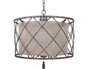 OPEN WEAVE CHANDELIER WITH LARGE LINEN SHADE